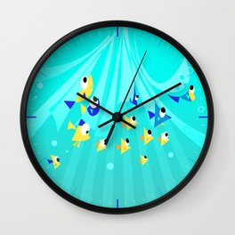 fishes into the blue Wall Clock