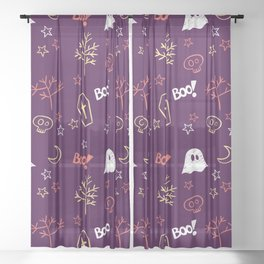 Happy halloween ghosts, moons, coffins, trees and boo pattern Sheer Curtain