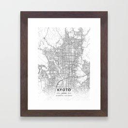 Kyoto, Japan - Light Map Framed Art Print