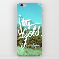 stay gold iPhone & iPod Skins featuring Stay Gold by Don Pekin
