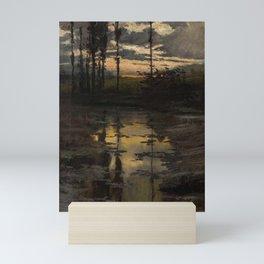 Enrique Serra y Auque (1859-1918), Sunset on the Pond. Mini Art Print