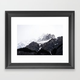 Moody snow capped Mountain Peaks - Nature Photography Framed Art Print