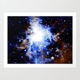 The Orion Nebula Vibrant Blue Brown Art Print