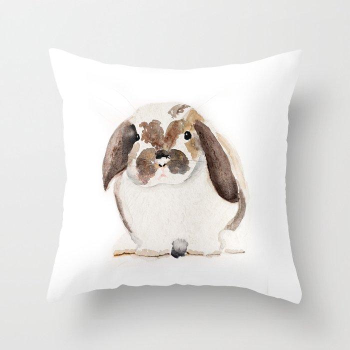 Bunny Watercolor (Flop Eared Bunny) Throw Pillow