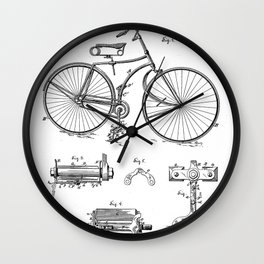 Bicycle Patent - Cyclling Art - Black And White Wall Clock