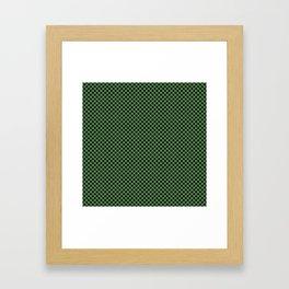 Hippie Green and Black Polka Dots Framed Art Print