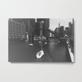 Saling through downtown Metal Print