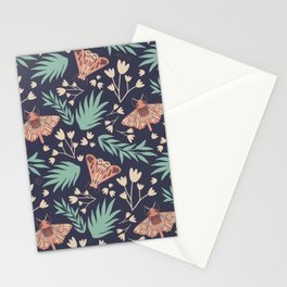 Moth and Flower Vintage Inspired Pattern Stationery Cards