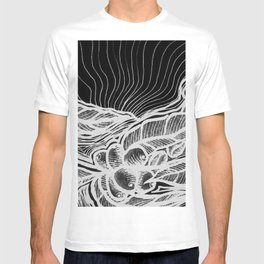 Coffee: from flower to toasted grain doodle. B&W. T-shirt