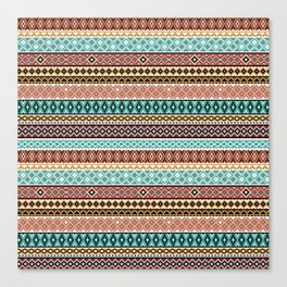 Knitted Series - Teal / Rust Canvas Print