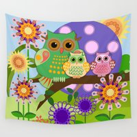 totes Wall Tapestries featuring Owls, Flowers Fantasy design by thea walstra