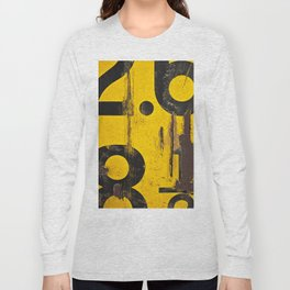 black numbers on yellow background Long Sleeve T-shirt