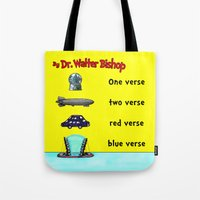 verse Tote Bags featuring Fringe One Verse, Two Verse, Red Verse, Blue Verse by Passive Fluency