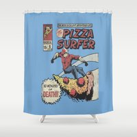 surfer Shower Curtains featuring Pizza Surfer by Austin Pardun