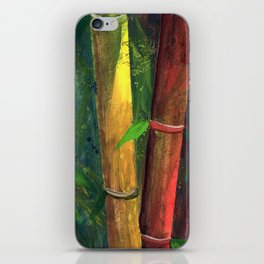 Colorful bamboo painting with gouache iPhone Skin