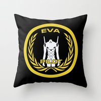 evangelion Throw Pillows featuring Evangelion Pilot Logo by Artist Meli