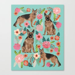 German Shepherd florals gifts for the dog lover dog breeds pet portrait dog art service dogs furbaby Canvas Print