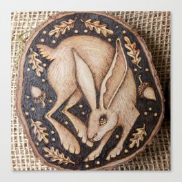 Joyful abandon leaping hare Canvas Print
