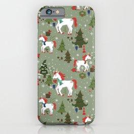 Christmas Winter Unicorn Pattern iPhone Case