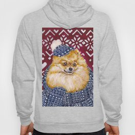 Pomeranian in a Hat and Scarf Hoody