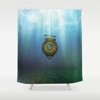 yellow submarine Shower Curtains featuring Steampunk submarine by valzart