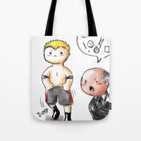 wwe Tote Bags featuring WWE Chibi - Brock Lesnar and Paul Heyman by Furiarossa