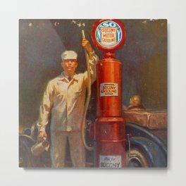 Vintage 1926 Gas Pump Socony Oil, Gasoline Standard Oil Advertising Poster Metal Print
