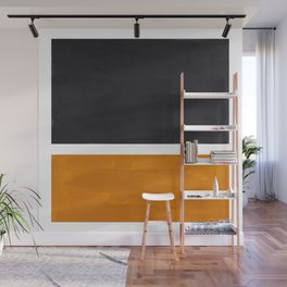 Black Yellow Ochre Rothko Minimalist Mid Century Abstract Color Field Squares Wall Mural