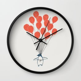 Penguin Balloons Wall Clock