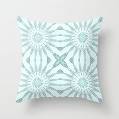 Aqua Pinwheel Flowers Throw Pillow