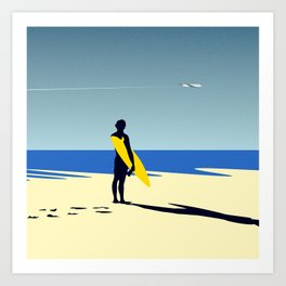 The surfer and the sea Art Print