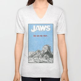 JAWS hand drawn movie poster in pencil Unisex V-Neck