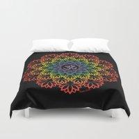 plain Duvet Covers featuring Namaste Lotus (Plain) by artsytoocreations