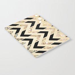 Black & Gold Glitter Herringbone Chevron on Nude Cream Notebook