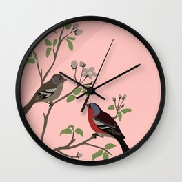 Peaceful harmony in the cherry tree - Illustration Wall Clock