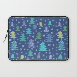 Winter Christmas Trees and Snowflakes in Purple, Blue and Green Laptop Sleeve
