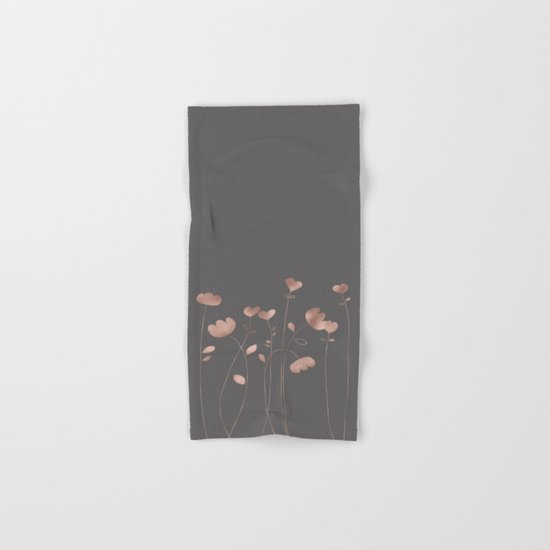 Rosegold flowers- floral design Hand & Bath Towel