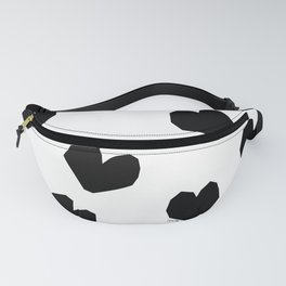 Love Yourself no.2 - black heart pattern love art black and white illustration Fanny Pack
