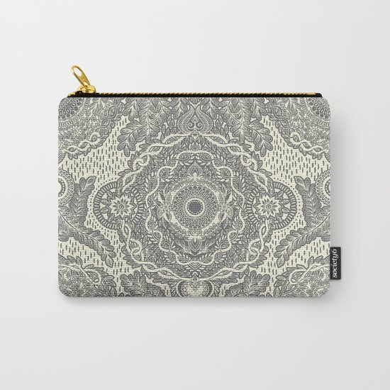Rain in the Garden - grey and cream Carry-All Pouch