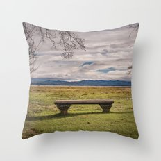 Empty Bench - landscape photography nature grass trees sky blue green love vintage story Throw Pillow