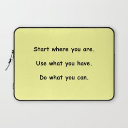 Start where you are - Arthur Ashe - yellow print Laptop Sleeve