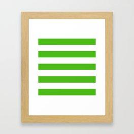 Kelly green -  solid color - white stripes pattern Framed Art Print