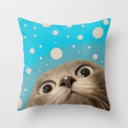 """Fun Kitty and Polka dots"" Throw Pillow"