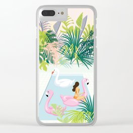 relaxing at resort Clear iPhone Case
