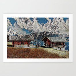 Old cabins on the Alpins Art Print