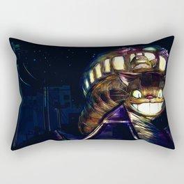 Cat Bus is In Your Town! Miyazaki Tribute Digital Fan Painting Rectangular Pillow