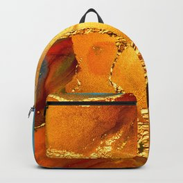 Sophisticated Glitter Gold and Blue Abstract Paint Texture Backpack