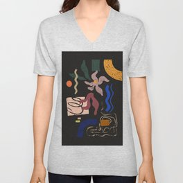 Abstract Floral 3 Unisex V-Neck