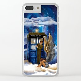 10th Doctor Who with Crying AngeL iPhone 4 4s 5 5s 5c, ipod, ipad, pillow case and tshirt Clear iPhone Case