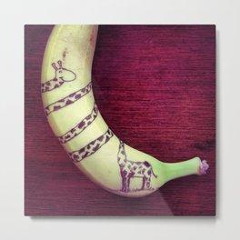 Giraffe on a banana Metal Print